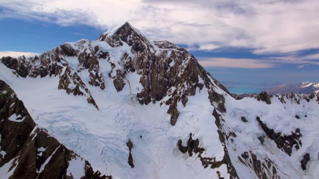 Aerial Footage Aoraki Mt Cook New Zealand highest mountain Glacier video