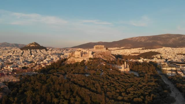 Aerial footage - Athens - Greece - close view of the Acropolis from a hill full of trees video