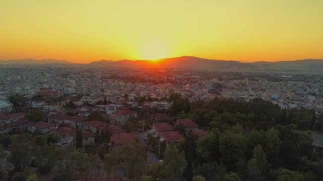 Aerial footage - Athens - Greece - View of Athens from the hill of Filopappou at sunset video