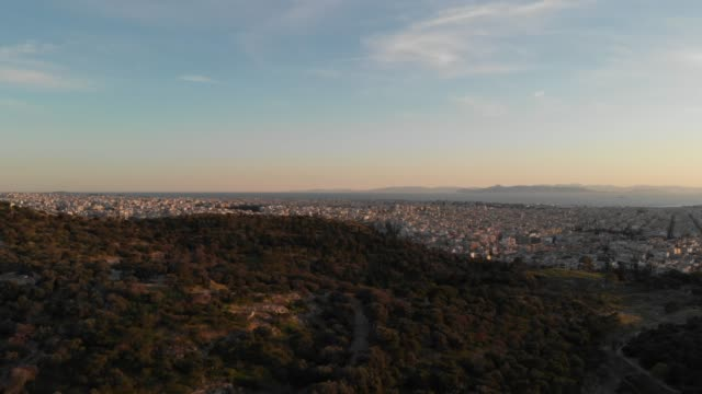 Aerial footage - Athens - Greece - view of the Athens waterfront from a hill close to Acropolis video