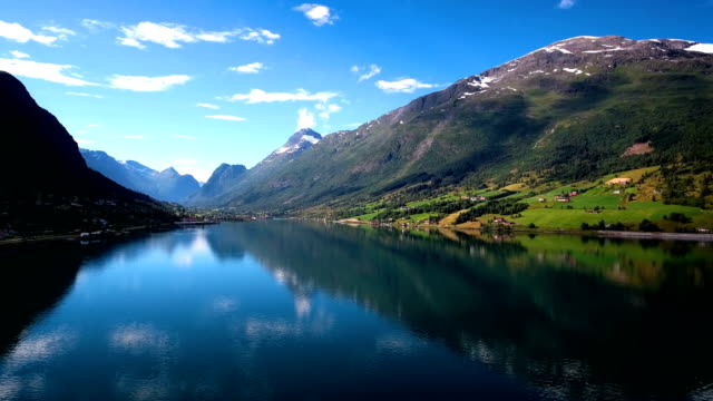 aerial footage beautiful nature norway. - fiordo video stock e b–roll