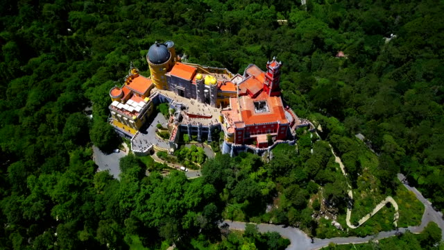 aerial footage. beautiful view of palace of pena, sintra, portugal - classical architecture stock videos & royalty-free footage