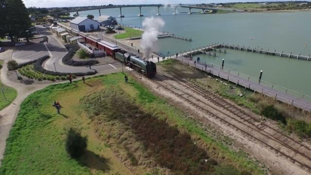 Aerial footage classic historical railway vintage steam train locomotive video