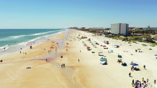 Aerial footage Daytona Beach allowing people back on the beach during Coronavirus Covid 19 pandemic