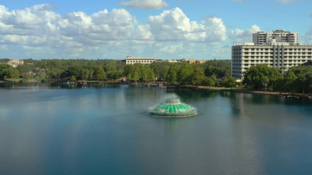 Aerial footage Downtown Orlando FL Lake Eola Heights - video