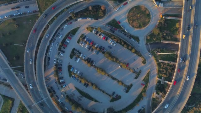Aerial footage -  Drone - flying over a traffic hub in south Athens, Faliro, Greece video