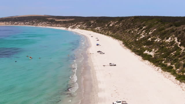 Aerial footage Emu bay, Kangaroo Island. Kayaking, swimmers and dogs play on the beach while families set up camp on the at waters edge. South Australia Tourism.