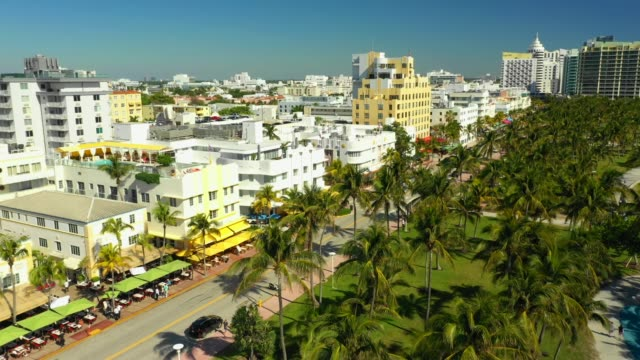 aerial footage miami beach hotels ocean drive summer vibes vacation destination - art deco architecture stock videos & royalty-free footage