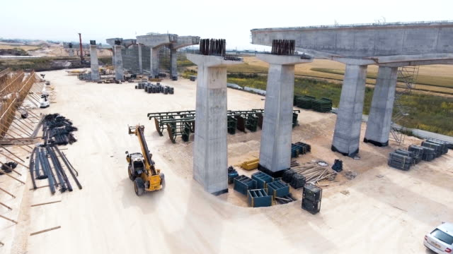Aerial footage of a large scale highway construction project