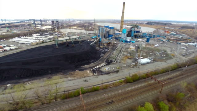 Aerial footage of a power plant video