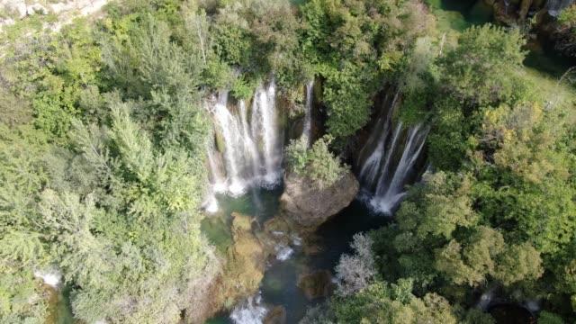 Aerial footage of a waterfall in Krka National Park, Croatia, Europe