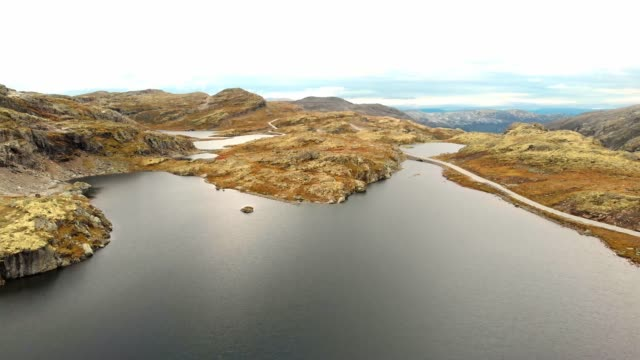 Aerial footage of Aurlandsfjellet scenic road video