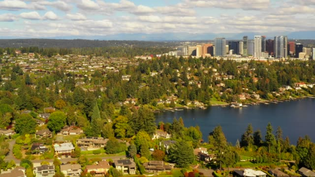 Aerial footage of Bellevue Medina Washington