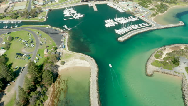 Aerial Footage of Bermagui Harbour, NSW, Australia