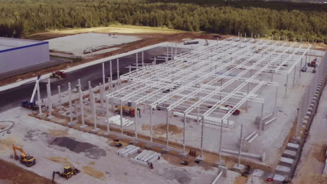 Aerial footage of building new large industrial complex video