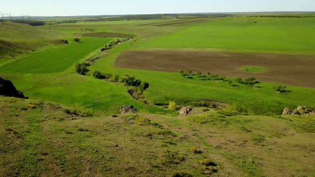 aerial footage of camera flying over the picturesque valley, green fields and hills, rocky cliffs and mountains, rock log and river. spring and summer season weekend at nature concept - geografia fisica video stock e b–roll