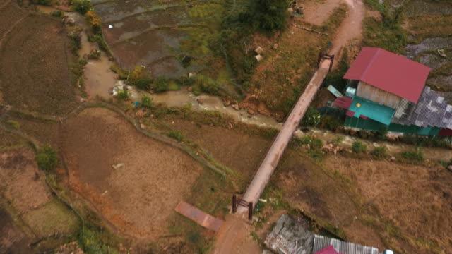 vídeos de stock e filmes b-roll de aerial footage of cat cat village, sapa, northern vietnam - october 2019 - passagem de ano