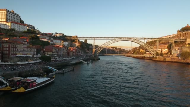aerial footage of Dom Luis Bridge, Porto, Portugal video