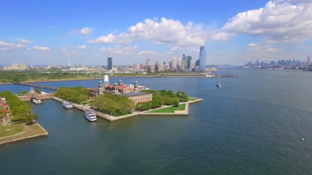 Aerial footage of Ellis Island New York video