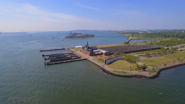 Aerial footage of Ellis Island processing center video