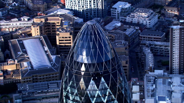Aerial footage of Gherkin, London, UK