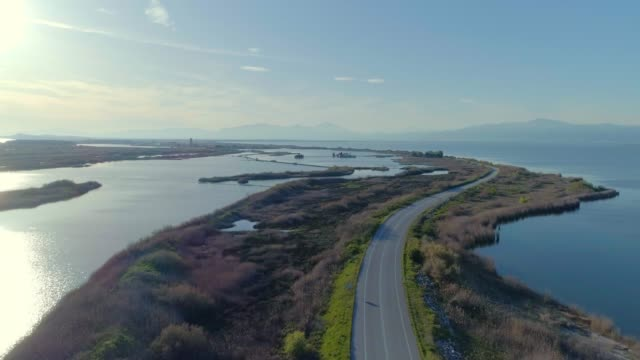 Aerial footage of lake and lagoon Vistonida in Xanthi and Porto Lagos, in Thrace video