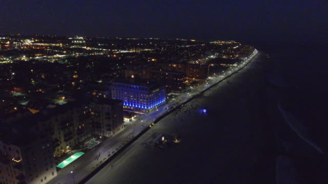 Aerial footage of Long Beach NY at night video