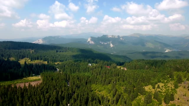 Aerial footage of narrow valley and mountains video