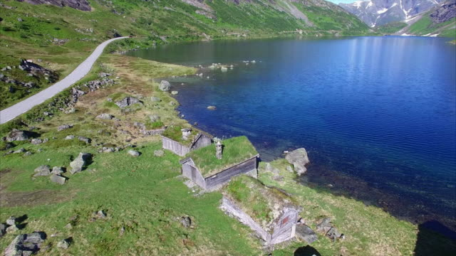 Aerial footage of norwegian old settlement video