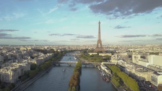 Aerial footage of Paris, with Seine River and Eiffel Tower