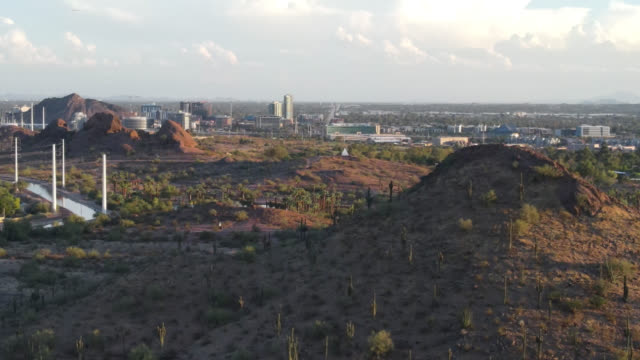 Aerial footage of Tempe Arizona from desert Mountain viewpoint.