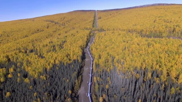 aerial footage av alaska oljeledningen i höstsäsongen - pipeline bildbanksvideor och videomaterial från bakom kulisserna