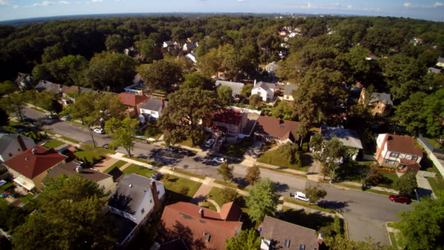 Aerial footage of the Queens Village residential area, New York City, USA. video
