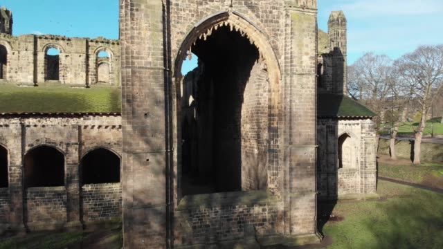 Aerial footage of the ruins of an old church or abbey video