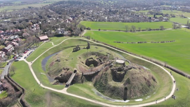 Aerial footage of the ruins of Sandal Castle video