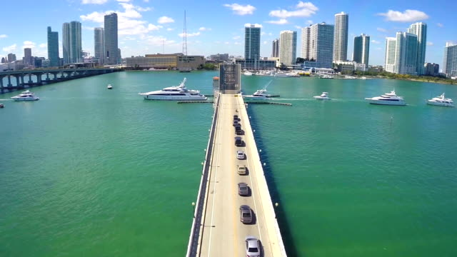 Aerial footage of yachts in Miami video