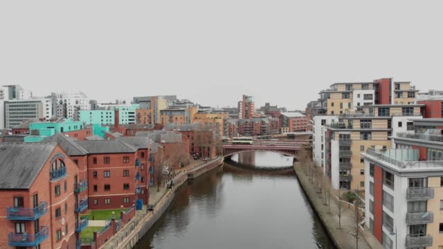 Aerial footage over a canal at Leeds City Centre video