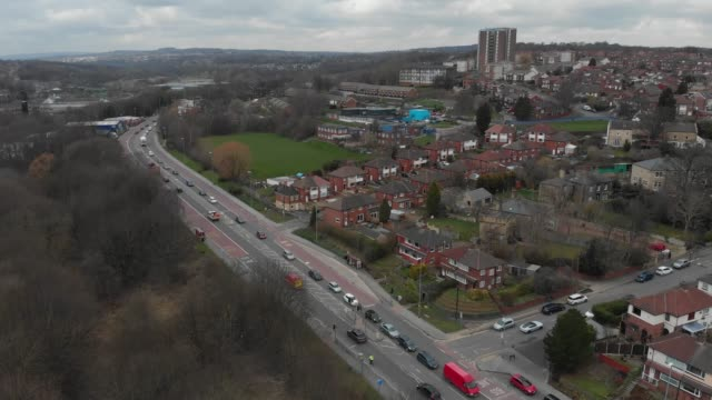 Aerial footage over a city video