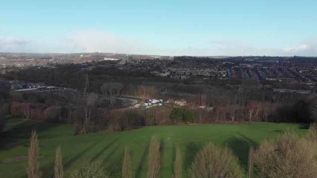 Aerial footage over a golf course in Leeds video