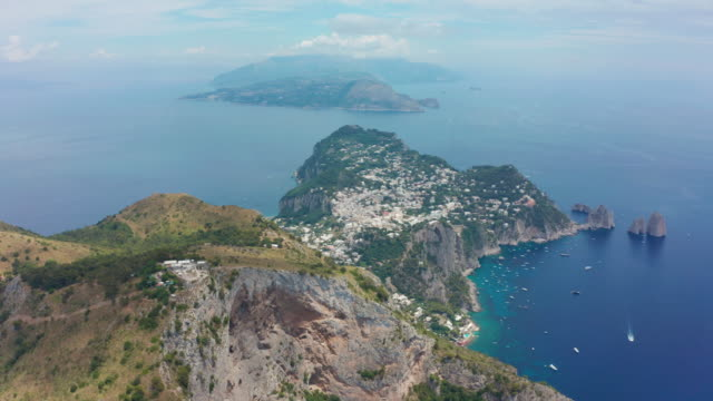 Aerial footage recorded with drone flying over the island of Capri. 4K.