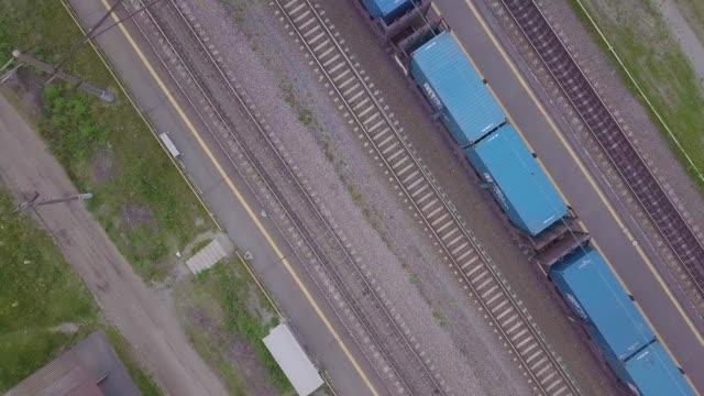 aerial footage video of train and train tracks - rivoluzione industriale video stock e b–roll