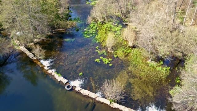 vídeos de stock e filmes b-roll de aerial footage view by drone, vouga river on valley - vídeos de barragem portugal
