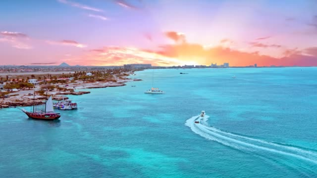 Aerial from the island Aruba in the Caribbean Sea at sunset