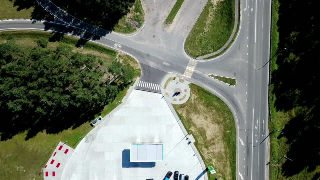 Aerial: Gas station. video