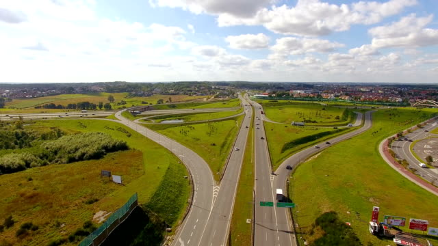 Aerial: Gdansk Circuit Road, Poland Aerial, Poland, highway, road junction, summer, transportation gdansk stock videos & royalty-free footage