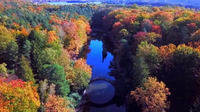 Aerial Germany Devils Bridge, rakotzbrucke park Kromlau, Germany.