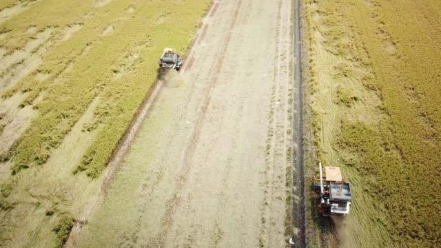 Aerial Harvesting working on field video