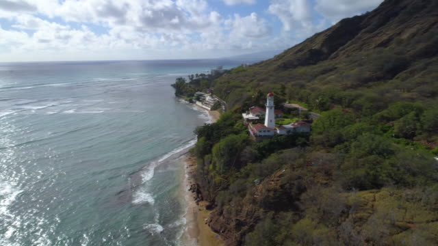 Aerial Hawaii Diamond Head lighthouse video