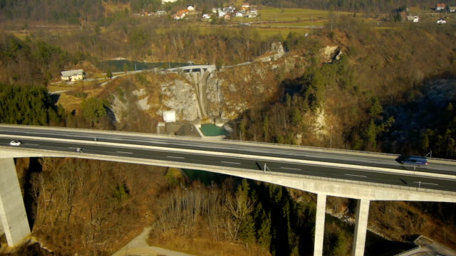 Aerial HD: Tilt Down and Pan Over Viaduct video