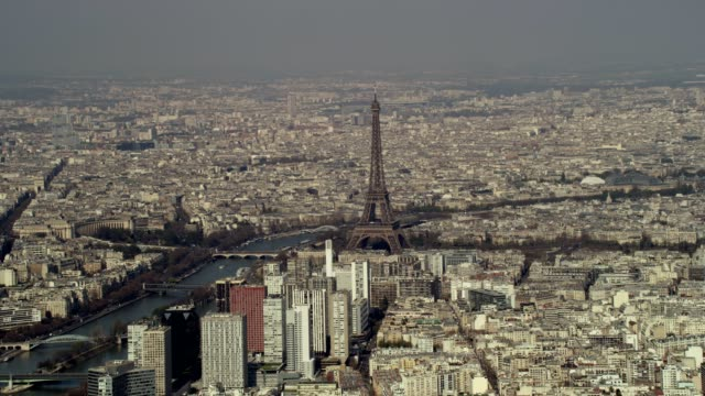 Aerial helicopter view of Paris and Eiffel Tower